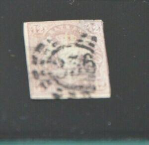 Bayern-Wappen-12-Kreuzer-hellbraunviolett-Mi-Nr-18-mit-oMR-034-356-034-Nuernberg