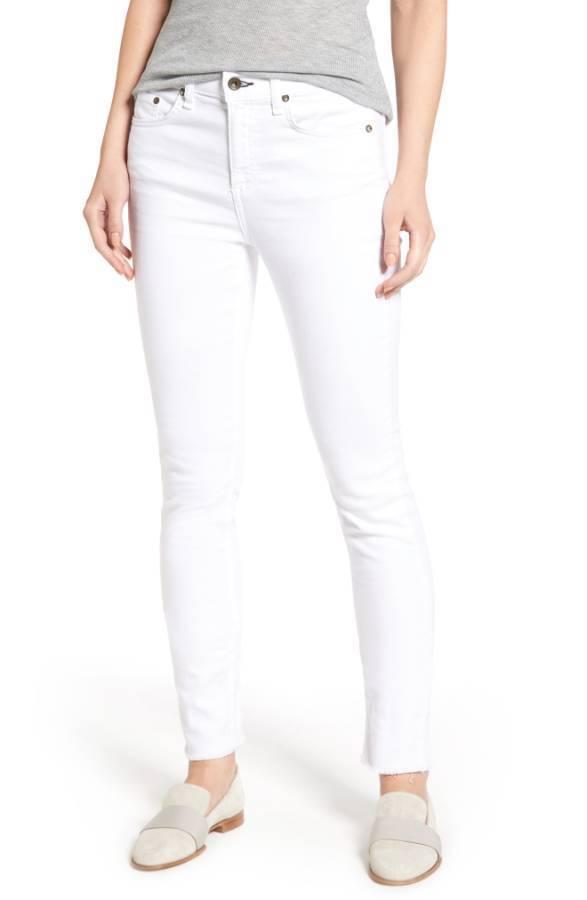 NEW  Rag & Bone Jean Step Hem Slim Boyfriend Jeans in White 24