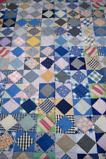 Vintage Unfinished Handmade Diamond Patchwork Quilt Top 60 X 80
