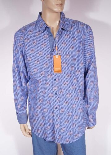 Hugo Boss Orange Cliffe Men/'s Blue Geometric Spread Collar Casual Dress Shirt