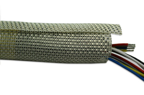 EMI Self-Closing Shielding Sock Cable Sleeve Wrap Tinned Copper PPS Aramid