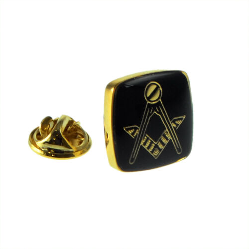 Gold Plated /& Black Masonic LAPEL PIN HAT BADGE Club Emblem CHRISTMAS PRESENT