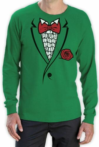 Printed Suit /& BowTie Tuxedo Funny Long Sleeve T-Shirt Bachelor Retro Prom Tux