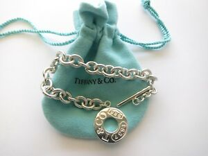 fefe84dd2 Tiffany & Co Sterling Silver 1837 Circle Clasp Toggle Bracelet 7.5 ...