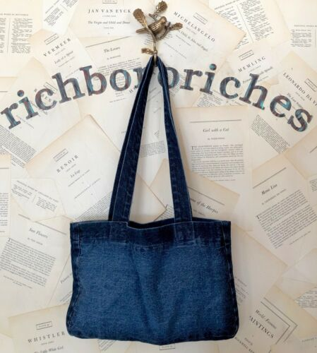 Appliqué Tote Sun Shouder DoekStenen Nieuwe Anthropologie Denim Bag Soft Shaded dWrxoCBe