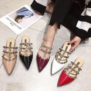 Women-Slippers-Slip-On-Flat-Rivet-Sandals-T-strap-Slides-Closed-Toe-Beach-Loafer
