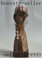 "7"" chinese folk red wood carve Beauty Belle gilr statue Sculpture art Decoration"