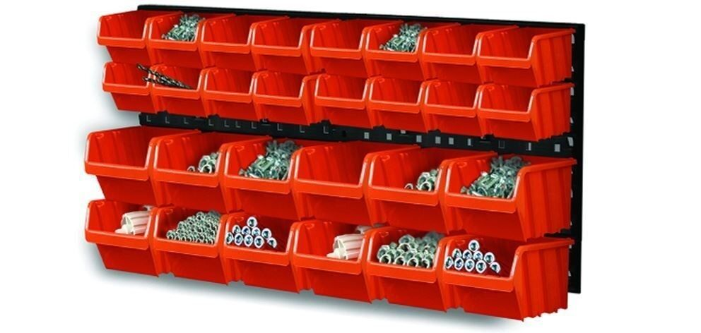 30 Pieces Plastic Mounted Wall DIY Tool Organiser Storage Bin & Board Set