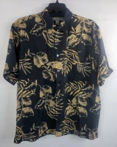 Tori-Richard-Men-039-s-Black-Hawaiian-Shirt-Large-100-Silk-Camp-Floral-Aloha-Pocket