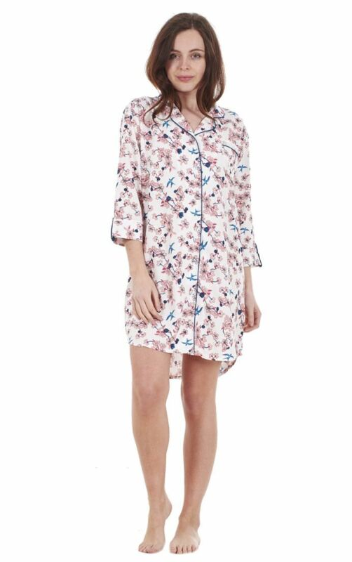 Aufstrebend Ladies Floral Viscose Long Sleeve Nightie Button Up Nightshirt Exquisite Handwerkskunst;