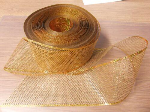 XXL Paillettenband gelbgold Holo Punkte je 2,5 m b=10,2cm 4 mm Basteln Schleifen