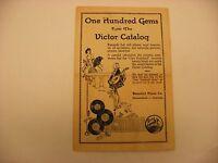 Original Victor Phonograph Record Catalog Pamphlet - One Hundred Gems