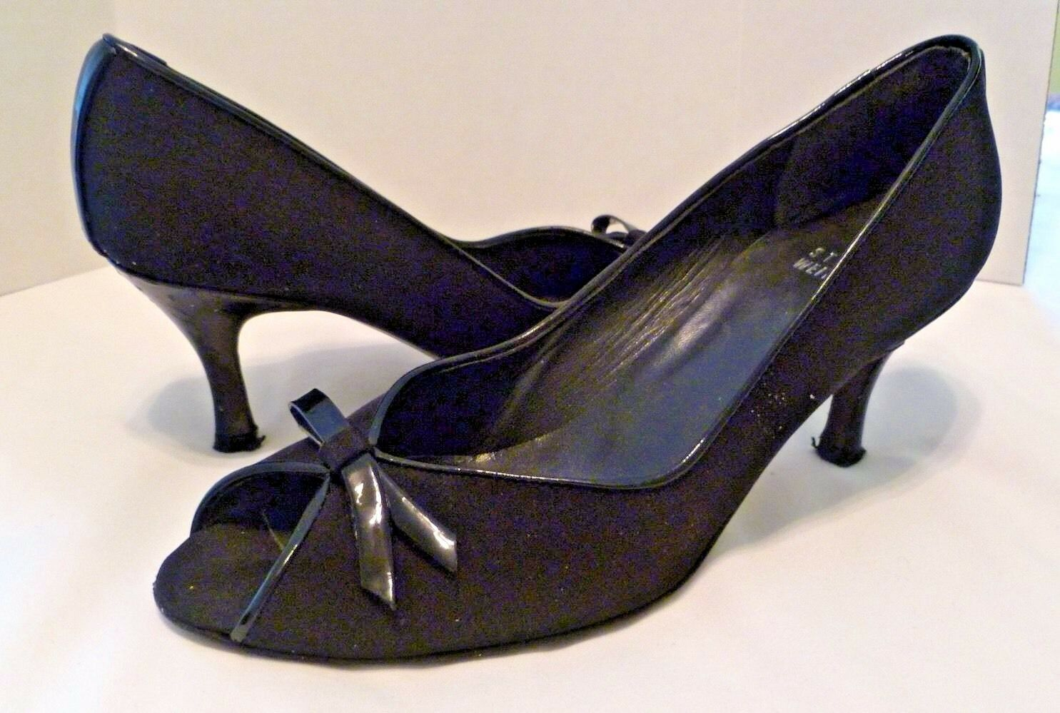 Stuart Weitzman Women Black Fabric Peep Toe Pumps Patent Bow Trim Sz 6.5 Narrow