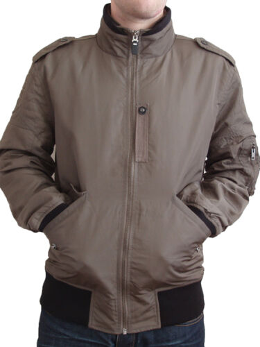 NEW Firetrap mens Size M L short zip up brown jacket