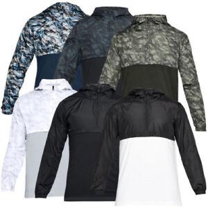 NWT Men/'s Under Armour Anorak Jacket 1//2 Zip Pullover Windbreaker White Black