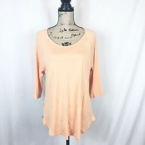 Soft-Surroundings-Blouse-Peach-Rayon-Knit-Womens-Med-Sheer-Back-Panel-Tunic