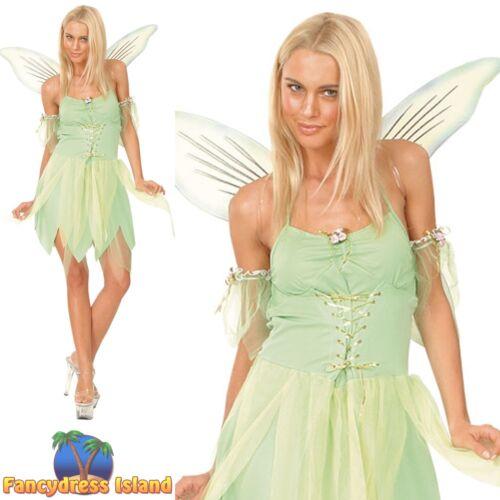 Tinkerbell Green Neverland Fairy Fairytale Book Day Womens Fancy Dress Costume