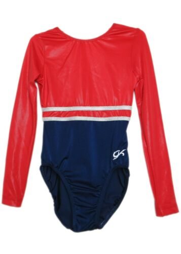 GK Elite Red Mystique//Navy Gymnastics Leotard AXS Adult Extra Small 4158