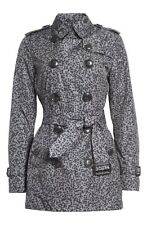 NWT Burberry Brit Kerringdale Belted Short Trench Coat Gray Splatter $995 US 14