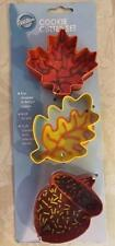 3PC WILTON FALL AUTUMN Cookie Cutters 2308-1159 Maple Leaf Acorn Metal