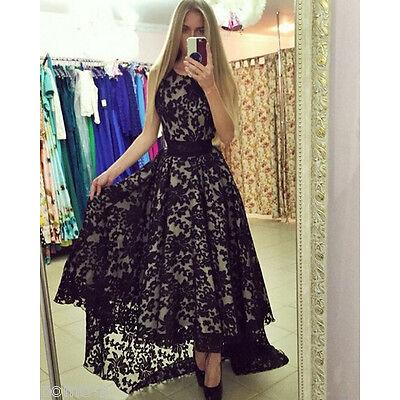 Women Casual Black O-Neck Print Lace High Asymmetrical Long Dress Party Womens