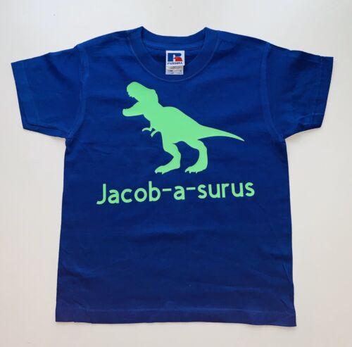 Personalised Name Dinosaur T-Shirt Kids Boys Girls Custom Baby Gift Tee Top