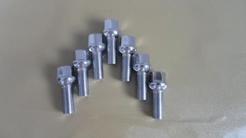 A set of 10 Lug Bolts 14x1.5 23mm Shank Length Chrome Lugs Ball Seat Type