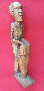Santeria-Vodou-Primitive-Carved-Wood-Haitian-Rada-Ceremony-Drummer
