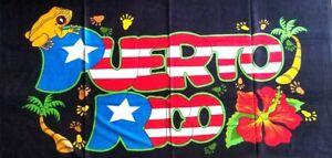 Puerto Rico Rican 30 x 60 INCHS Beach Towel (Cotton Twill) BORICUA FLOWER COQUI