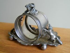 Antique American silver plate figurative napkin holder foxes hunting birds nest
