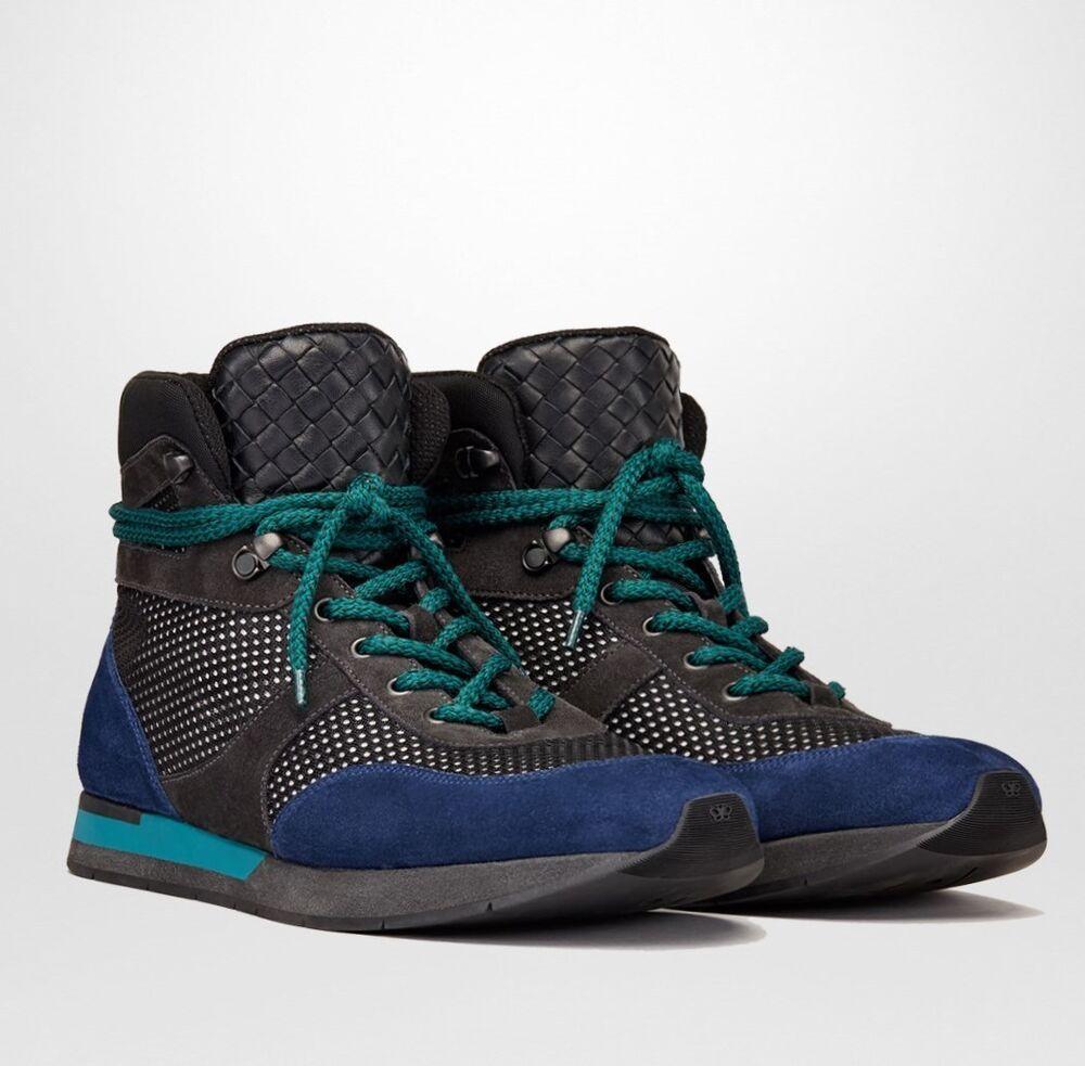 $850 Bottega Veneta / Noir Cuir Daim Bleu Haut Sneaker 417024 8796