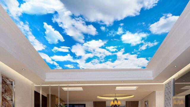 Custom Photo 3d Ceiling Murals Wallpaper Sunny Blue Sky White
