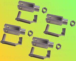 M10 4 x Gabelkopf 10x40 DIN71752 Kontermutter Sicherungsbolzen // ES-Bolzen