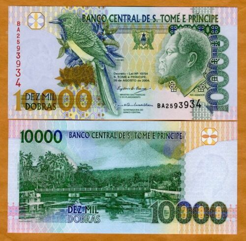 Dobras 10,000 10000 UNC St Thomas /& Prince 2004 P-66c