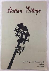1955-Vintage-Menu-Italian-Village-Restaurant-Dallas-Texas-TX