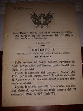 REGIO DECRETO 1886 COSTIT  MOLINO DEI TORTI ,sep ALZANO, COLL  EL ALESSANDRIA