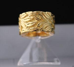 Bandring-Damenring-925-Silber-24-Karat-vergoldet-Gelbgold-Blaetter-Muster-Natur