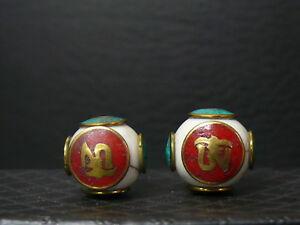 Tibet dv1022 2 Vintage Decorate Shell Beads Strukturelle Behinderungen