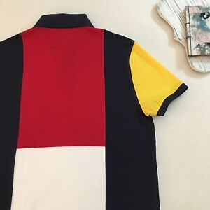 Details about Tommy Hilfiger Multicolored Back Short Sleeve Performance Polo Shirt