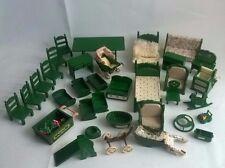 Sylvanian Families Bundle 30 Vintage Green Furniture Spares House Hotel Spare