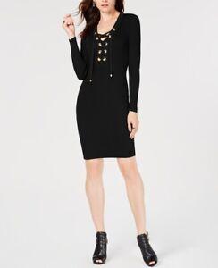 Details About Michael Michael Kors Grommet Trim Lace Up Sweater Dress Size Large Color Black