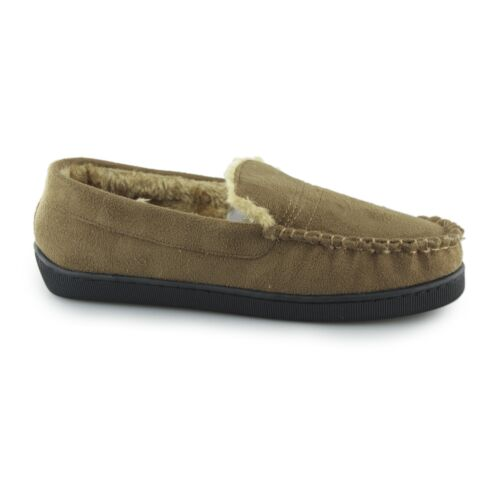 Dr Keller SEAN Mens Synthetic Warm Faux Fur Lined Comfy Moccasin Slippers Tan