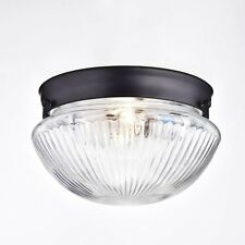 Truelite Industrial Flush Mount Ceiling Light with Glass Shade Oil Rubbed Bronze