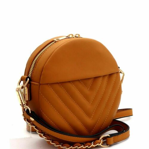 Chevron Quilted Round PU Leather Wristlet Cross Body Shoulder Bag