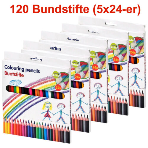 5x 24er Set Topwrite 120Stk Buntstifte Kinder Malstifte Farbstifte Zeichenstifte