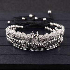 Luxury-Men-Micro-Pave-CZ-Zircon-Ball-King-Crown-Braided-Adjustable-Bracelets