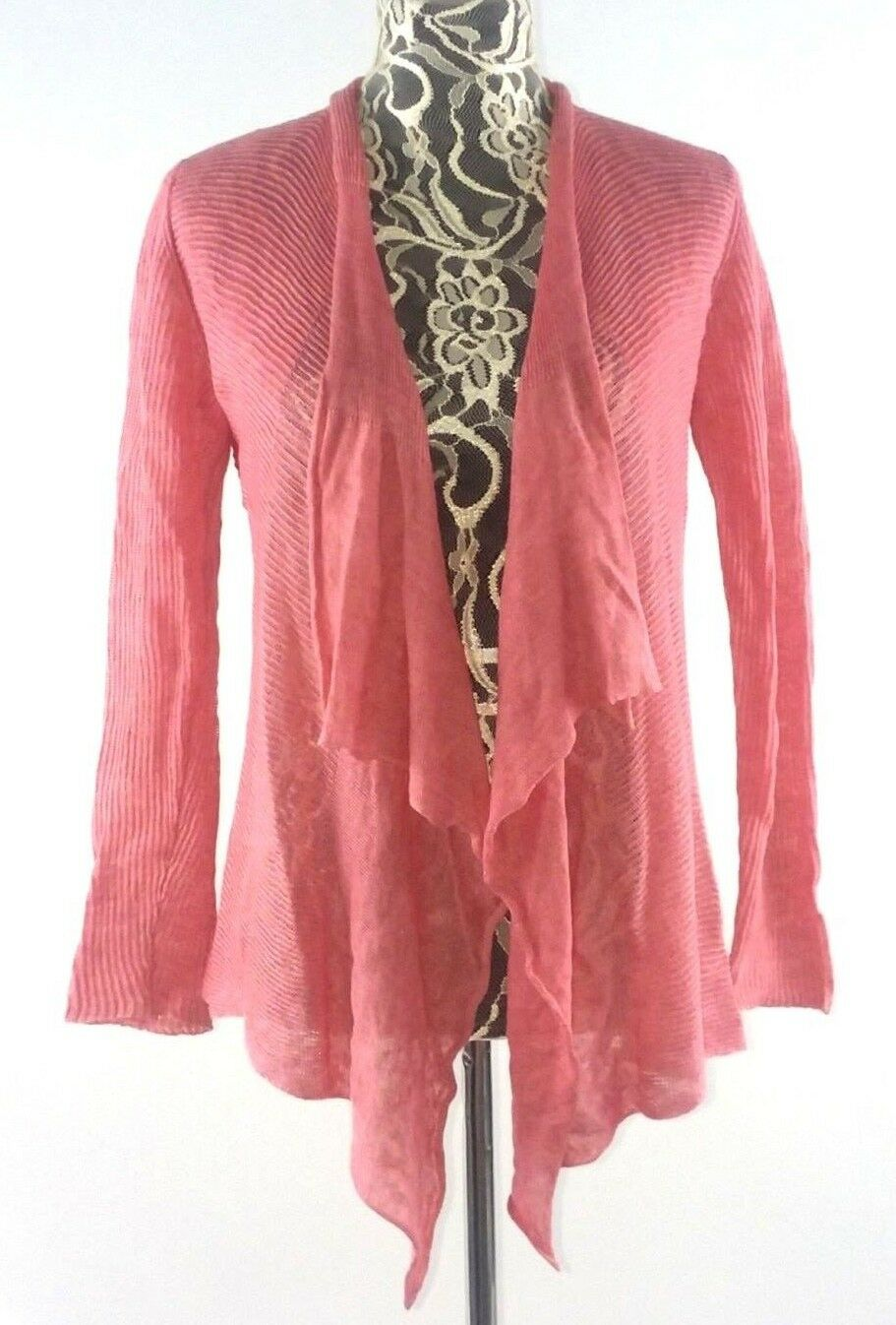 EILEEN FISHER Petite Linen Open Front Cardigan Sweater SMALL Ribbed Pink