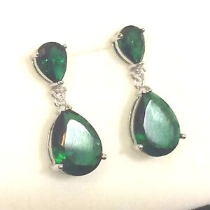 Image Is Loading P Designer Large Green Emerald Pear Drop Dangle