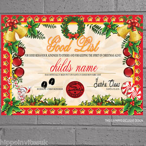 Christmas Certificate.Details About Personalised Girls Boys Good Nice List Christmas Certificate From Santa X 1