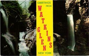 Vintage Postcard - Greetings From Glen Watkins Waterfalls New York NY #1797